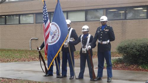 SCHS JROTC Color Guard SES Veterans Day Ribbon Tying Ceremony