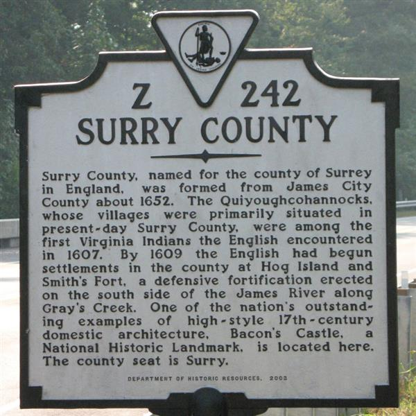 Surry Historical Marker